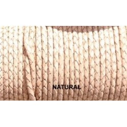 THONGING LEATHER BRAIDED NATURAL 3.0 4.0MM PER METER