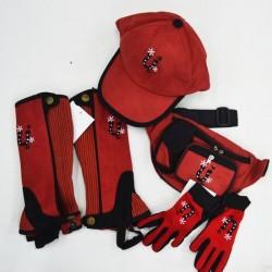 CHAPS SET CAP GLOVES BAG RED