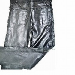 LEATHER TROUSER WITH SIDES STRUNG