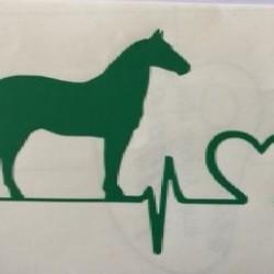 VINYL STICKER HEARTBEAT STANDING HORSE